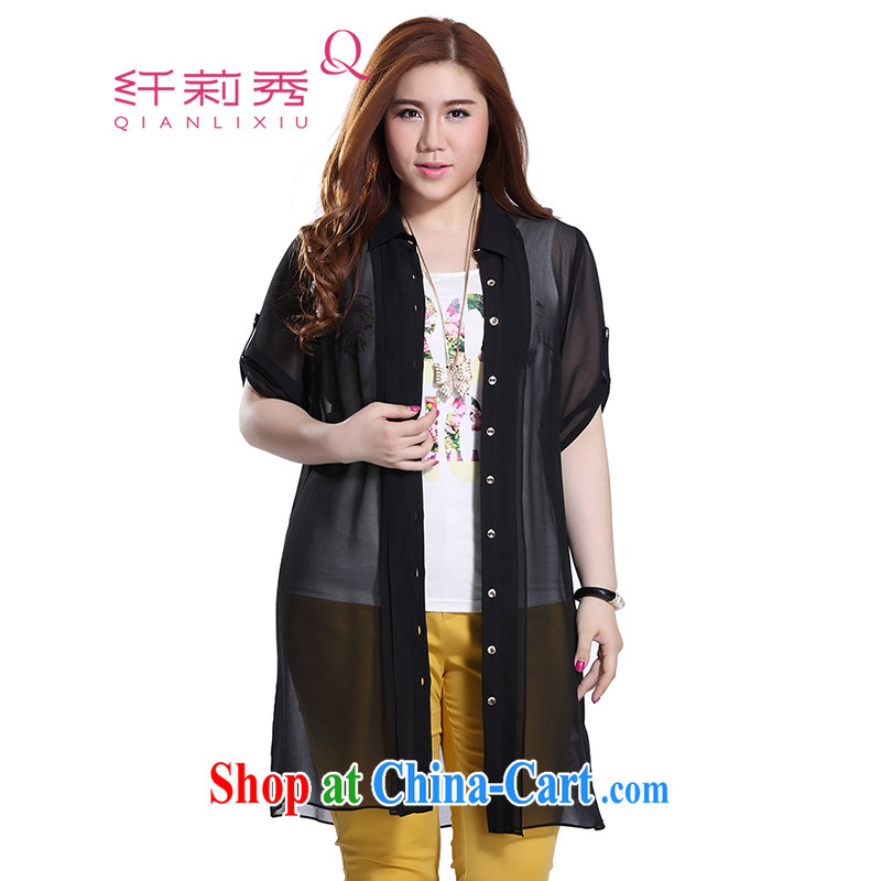 Slim Li-su 2015 summer new, larger female plain-colored leisure lapel arm cuff thin and long, long shirt jacket Q 8697 black 5 XL