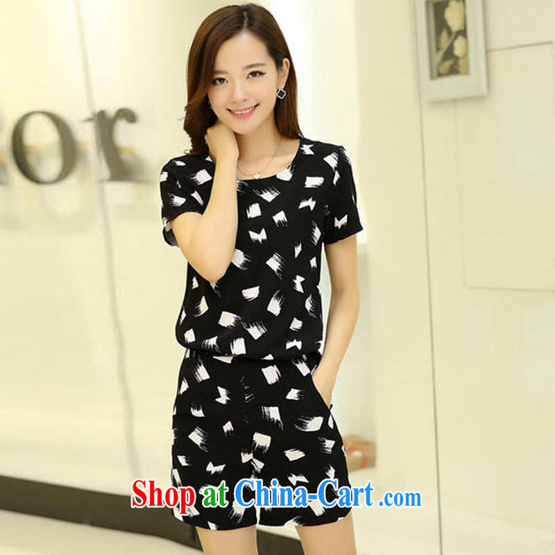 Cheuk-yan Zi spent 2015 larger female and indeed intensify summer shorts Kit mm thick beauty graphics thin Leisure package white-on-black snow dyeing 5 XL