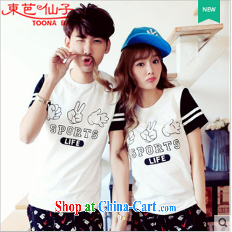 Couples with summer 2015 new Korean couples short-sleeved shirt T female college wind solid T-shirt T-shirt white XXXL