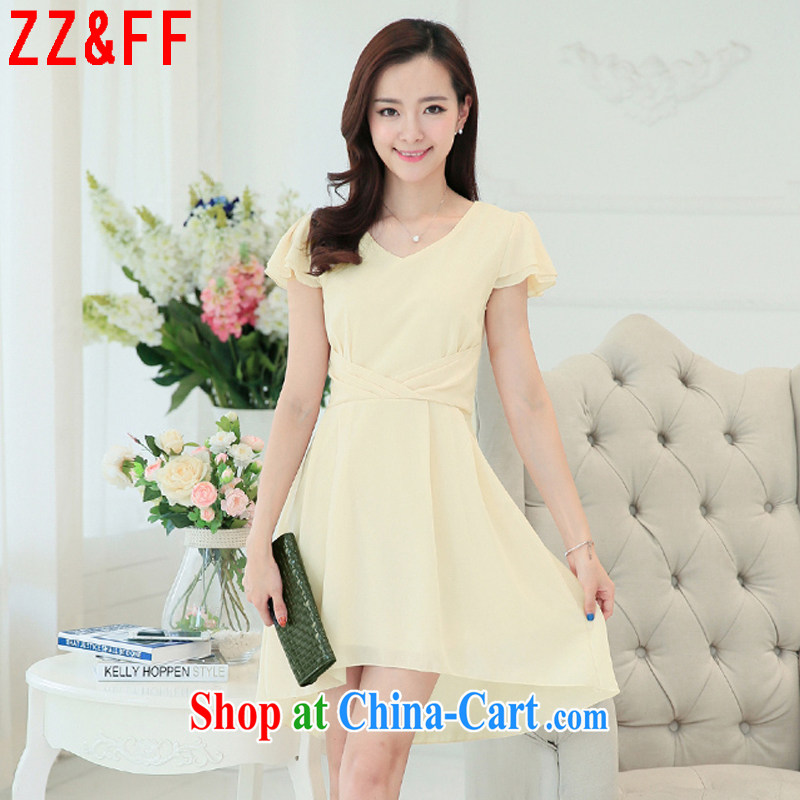 ZZ &FF 2015 summer new, larger female graphics thin beauty dresses summer female temperament long skirt girl LYQ 948 apricot XXXL