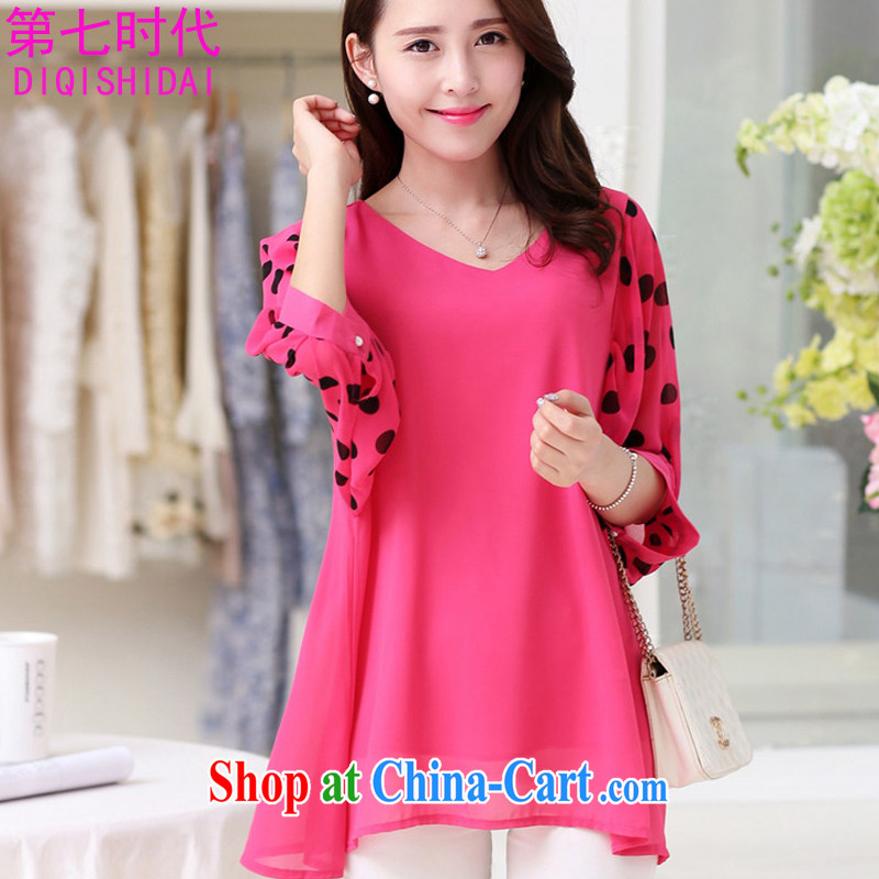 The first 7 times larger female snow woven shirts 2015 spring and summer new Korean version thick mm loose round-collar 7 sub-sleeved T-shirt T-shirt woman of 8833 red XL
