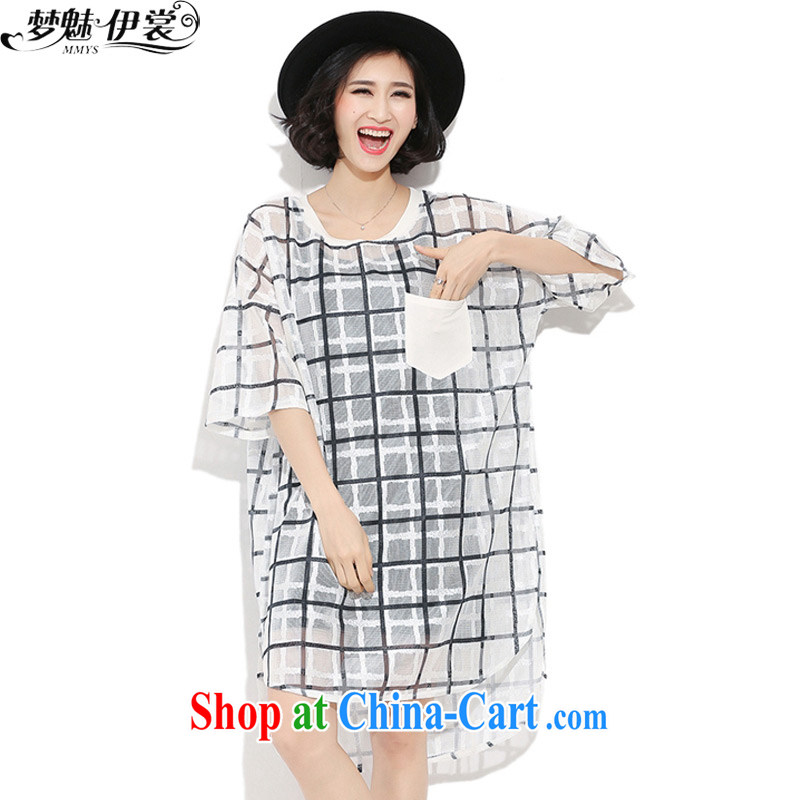 Director of the Advisory Committee summer dress in Europe wind loose the code grid Openwork European root yarn stitching Web dress skirt T fluoroscopy replace white single layer code