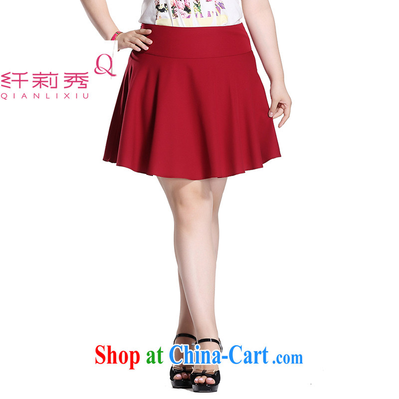 Slim LI Sau 2015 summer new, larger female comfort waist Korean micro-pop-up solid color A Field short skirts half skirt Q 7897 wine red 32