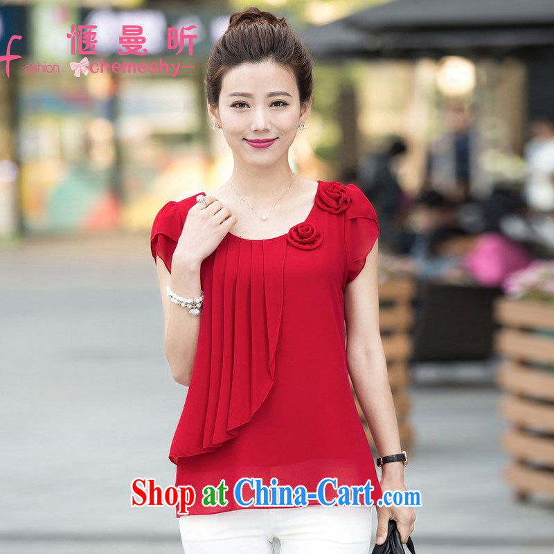 Sit back and relax, the year old female new 2015 summer new larger mother load snow woven shirts ybl 603 red XXXL