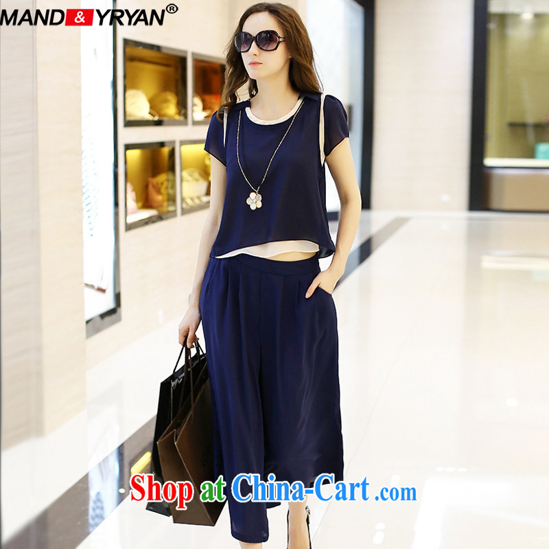 Romantic, new, the United States and Europe, female summer is the increased two-piece thick MM loose video thin package short-sleeved snow woven shirt + 9 loose pants blue_MDR XXXL 1943 150 - 160 about Jack