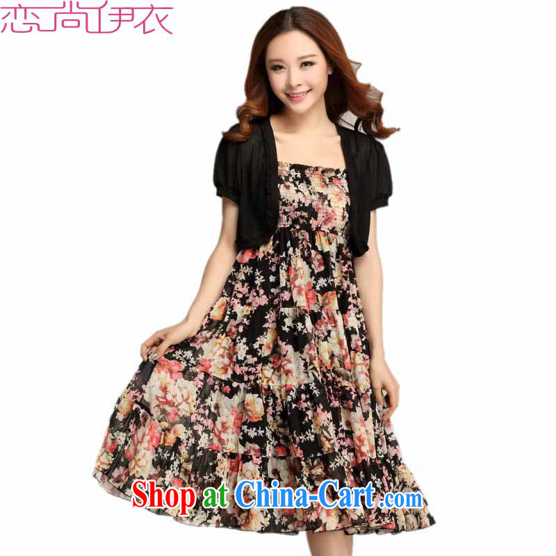 The 2015 new summer is the XL female snow woven small jacket bohemian GALLUS DRESS short-sleeve floral long beach skirts dresses black XXL approximately 140 - 155 jack