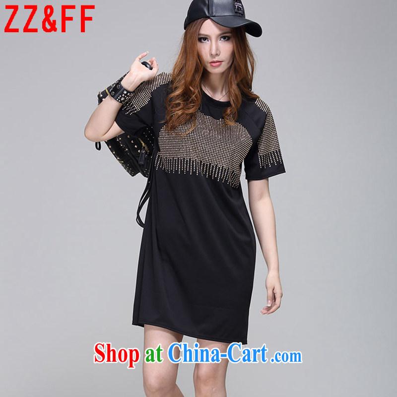 ZZ &FF 2015 summer new, larger female thick MM beauty dresses girls in long T shirt female LYQ 9946 black XXXL