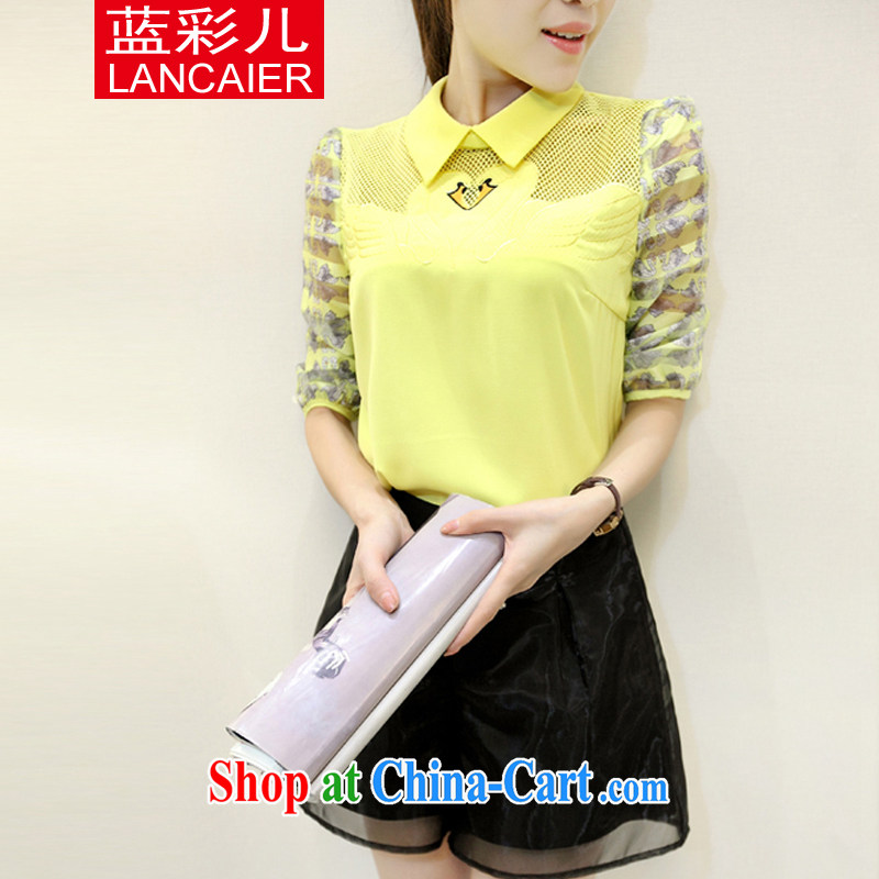Blue South Korea's 2015 spring and summer new women with two-piece 5 sub-sleeved T-shirt with shorts sweet Leisure package female yellow XL
