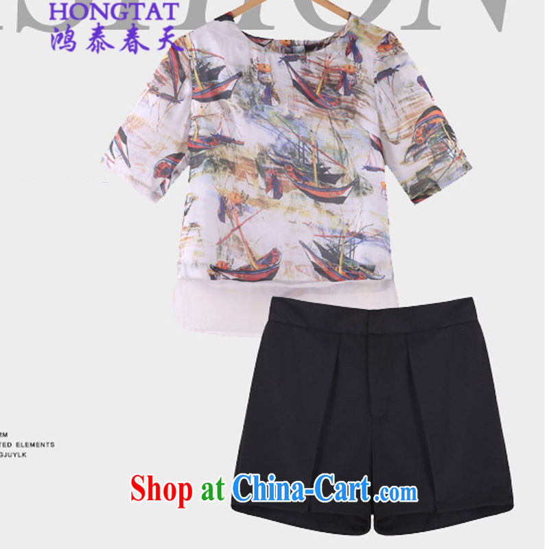 Leong Che-hung Tai Spring Summer 2015 the Code women mm thick graphics thin ice woven shirts T shirts shorts kit fat sister and indeed increase 9116 photo color 4 XL