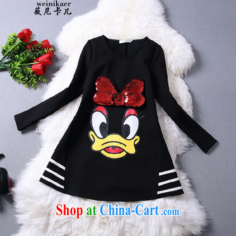 Ms Audrey EU, child care, summer .2,015 30012015 the code spring new cartoon thick MM T long-sleeved shirt 200 jack to wear solid pregnant women with black 3 XL