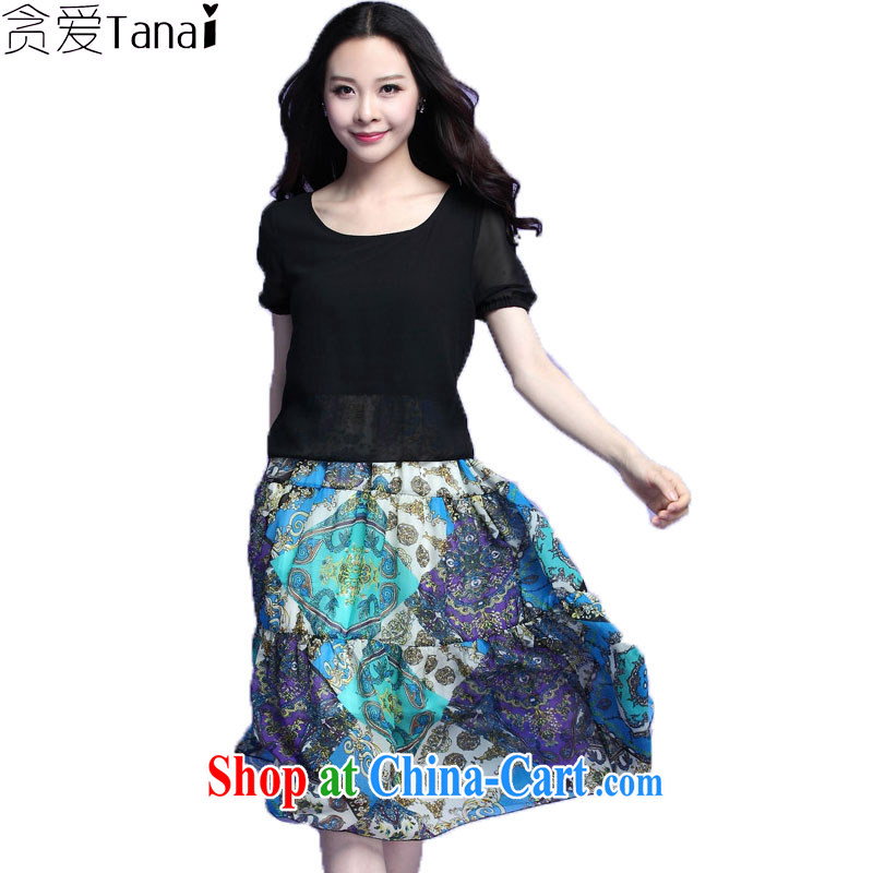 Loved summer new leave of two part female temperament graphics thin short-sleeved larger female snow woven dresses bohemian beach skirts 3708 blue 4 XL