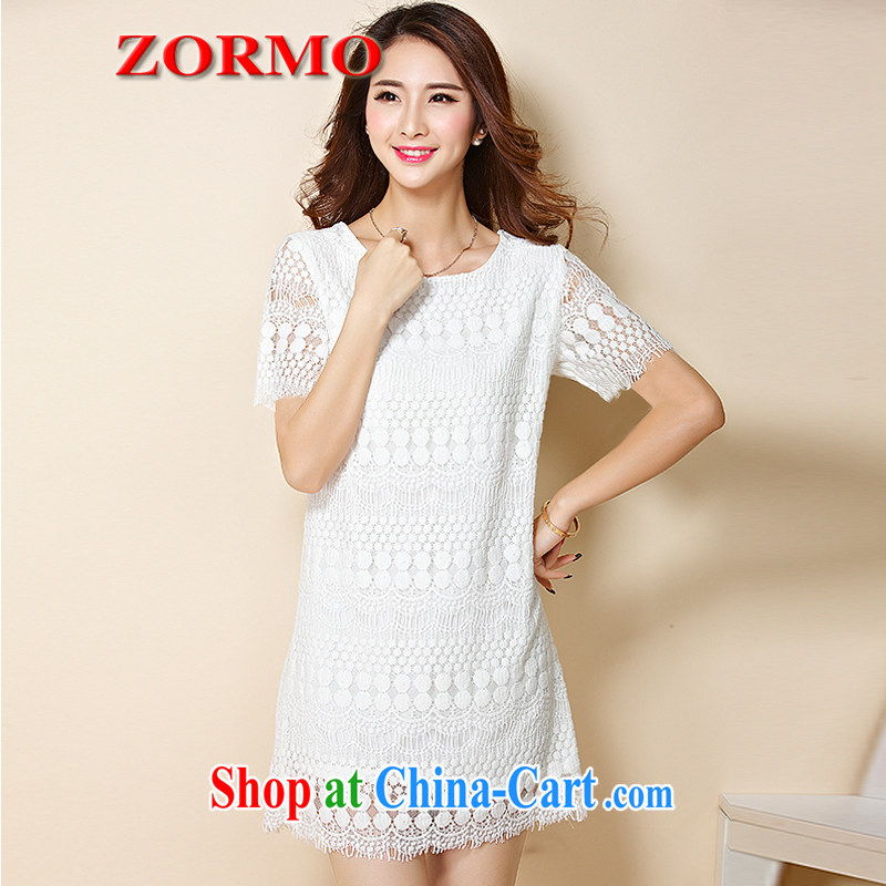 ZORMO 2015 summer new Korean version the code lace dress mm thick recreational leave two short skirt white 5XL