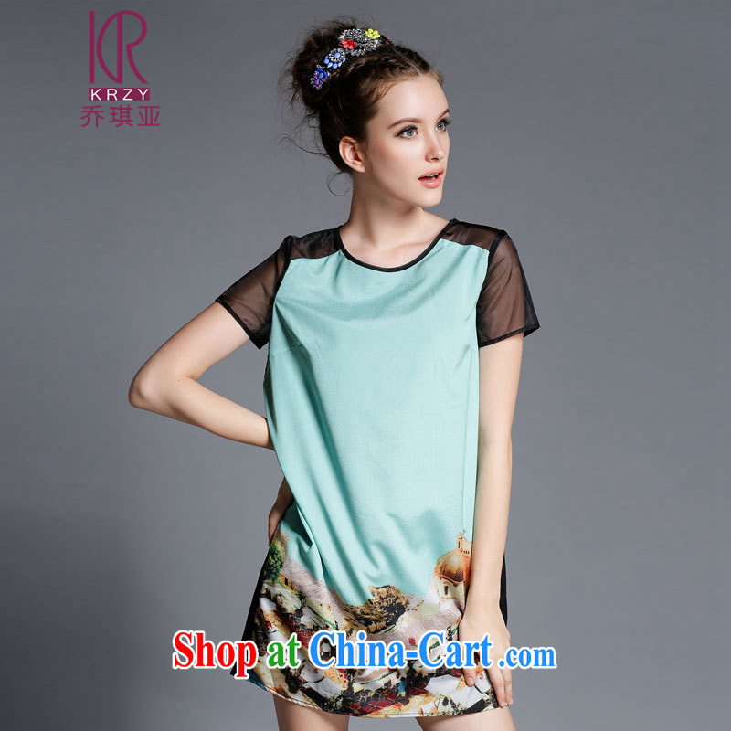 Joe Angel in the summer new, larger female female dresses fluoroscopy the root yarn stitching position take stamp duty short-sleeved dresses and indeed increase code has been a casual dress 5 XL