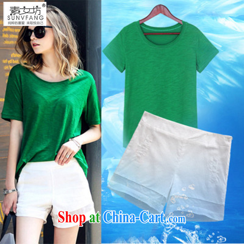 Women of the workshop code female graphics thin thick mm summer new stylish short-sleeve foreign trade and indeed increase shorts campaign kit 5616 photo color T-shirt + pants 4 XL recommendations 165 - 185 jack