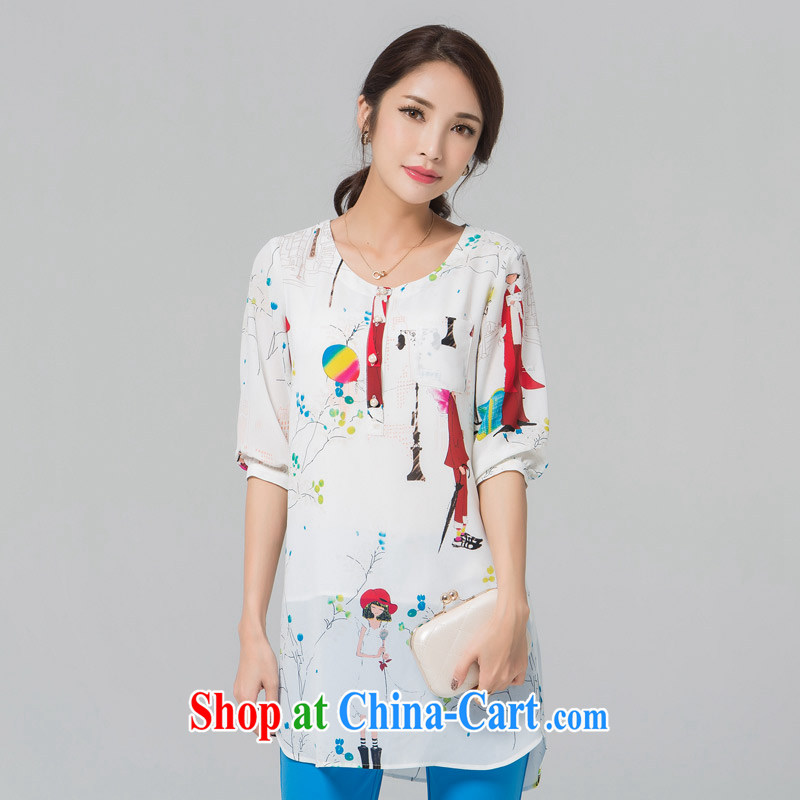 blue if the water increase, female T pension 2015 summer new thick MM stamp loose cuff in the long, snow-woven shirts large white code 4 XL