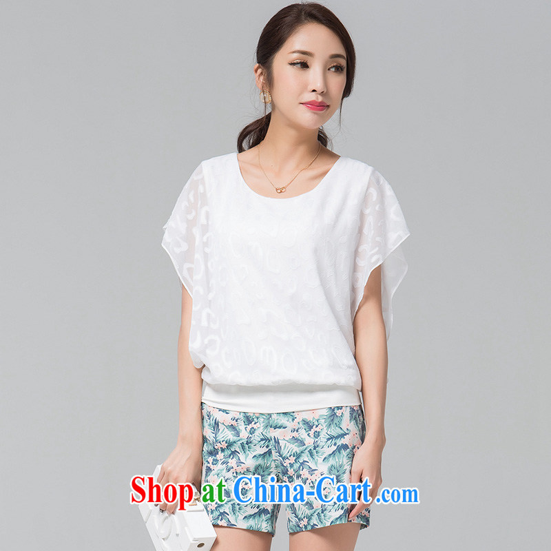 blue if the water increase, female 2015 summer new bat sleeves casual relaxed mm thick snow woven T-shirt large white code 3XL