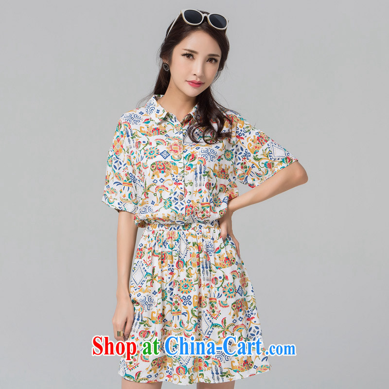 blue if the water maximum code female summer new dresses stylish cool shirt collar cultivating short-sleeved dress suit the code XXL