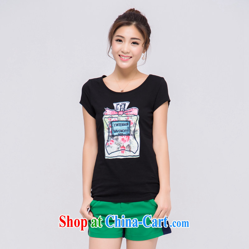 blue water the Code women 2015 summer new thick MM fashion round stamp duty for short-sleeved T shirt black large number 3 XL