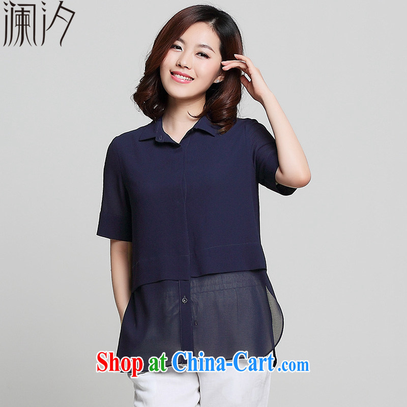 world leaves the fat XL 2015 summer new thick MM loose snow woven shirts girls summer T-shirt short-sleeved cardigan Navy 4 XL _150 - 170_