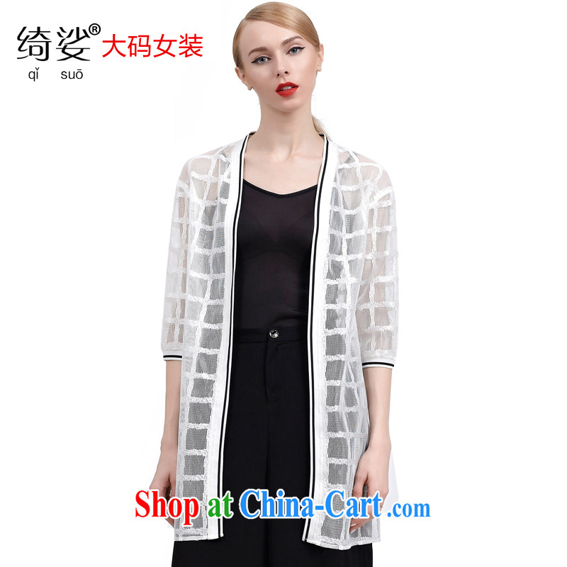 cheer for summer 2015 new products, female OL lace tartan 5 cuff video slim jacket, sunscreen shirts 2811 white 3XL