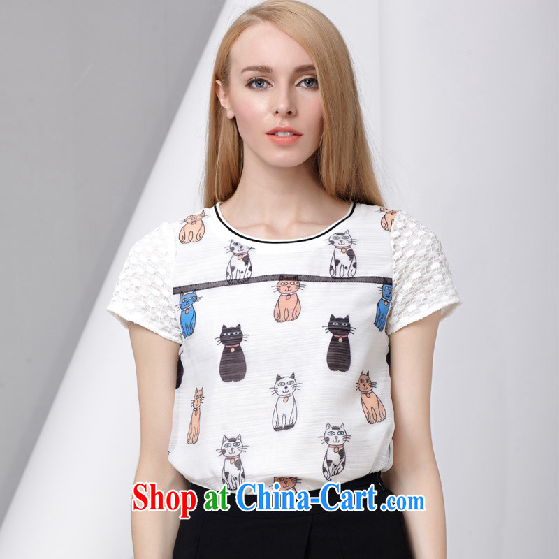 cheer for summer 2015 new products, female lady small kitten stamp graphics thin large short-sleeved T pension 2803 white 5 XL