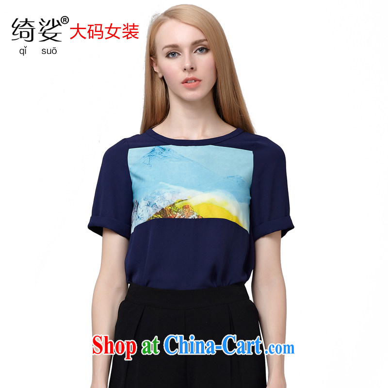 cheer for summer 2015 new products, female Korean ink stamp thick sister graphics thin short-sleeved T shirt 2771 blue 5 XL