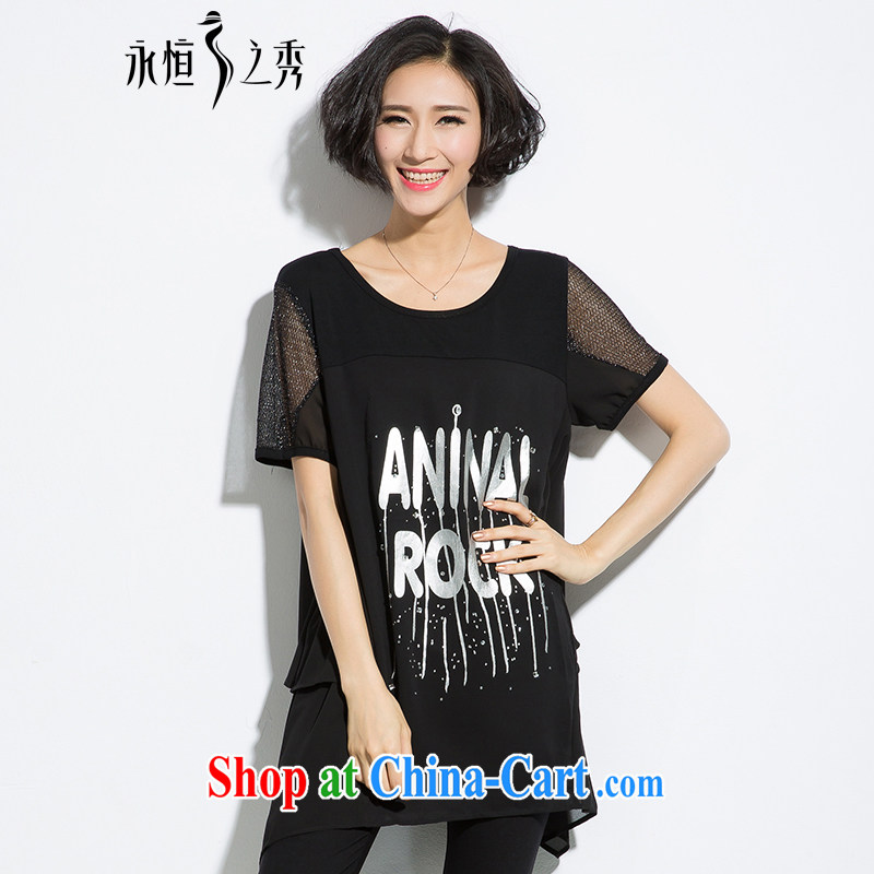 Eternal show Summer 2015 mm thick new larger female hot letter stamp loose video thin, long T shirt black 3 XL