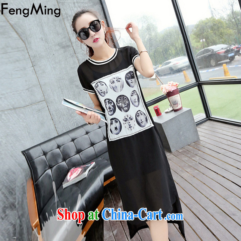 Abundant Ming 2015 summer new, larger graphics thin Street does not rule long T pension snow woven dresses Kit female black two-piece XXL