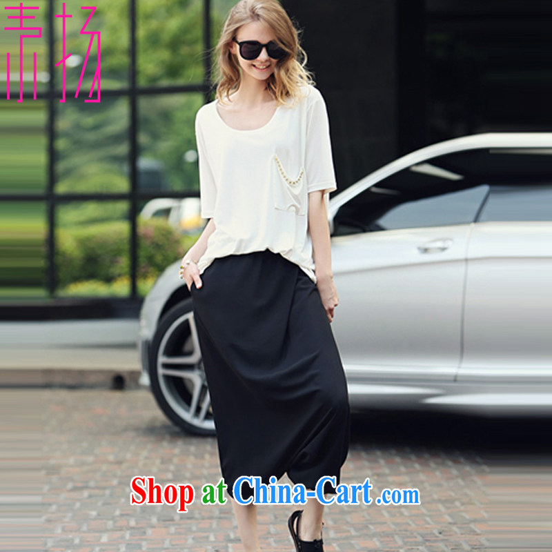 Speakers of the Code female T shirts personalized pants and skirts 2015 spring and summer new Europe thick MM parquet drill white T shirts personalized pants and skirts package two-piece 564 black 4XL