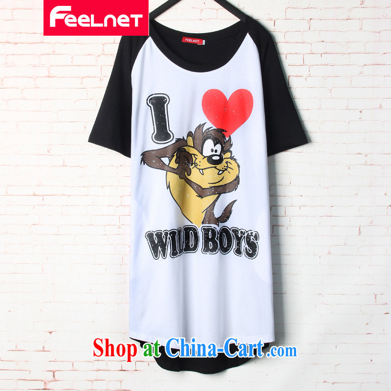 The feelnet code female 2015 summer new liberal cartoon stamp duty, long, short-sleeved large code T pension 1528 black 48 code - Recommended 80 - 130 kg
