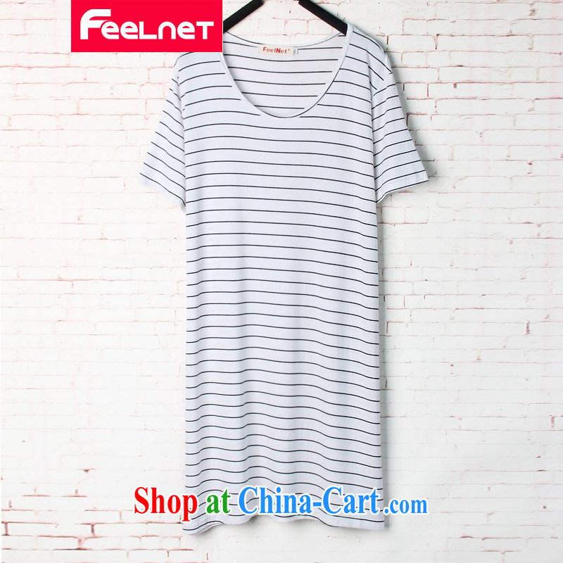 The feelnet code female 2015 summer new Korean liberal streaks, long, short-sleeved large code T pension 1571 white 48 code - Recommended 80 - 130 kg