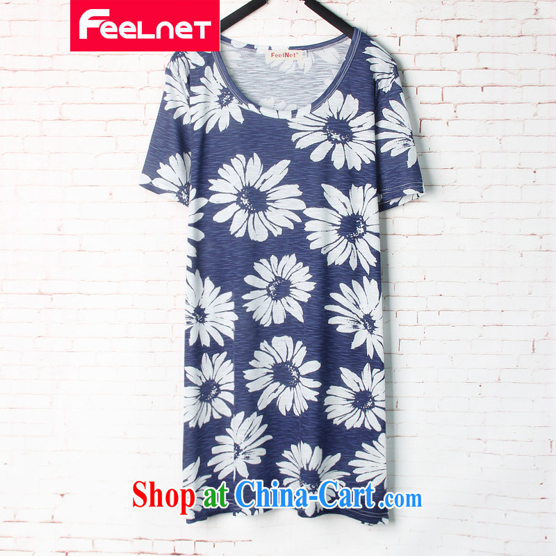feelnet larger women 2015 summer new Korean loose video thin, long, short-sleeved larger T pension 1598 blue 44 codes - Recommendation 60 - 90 kg