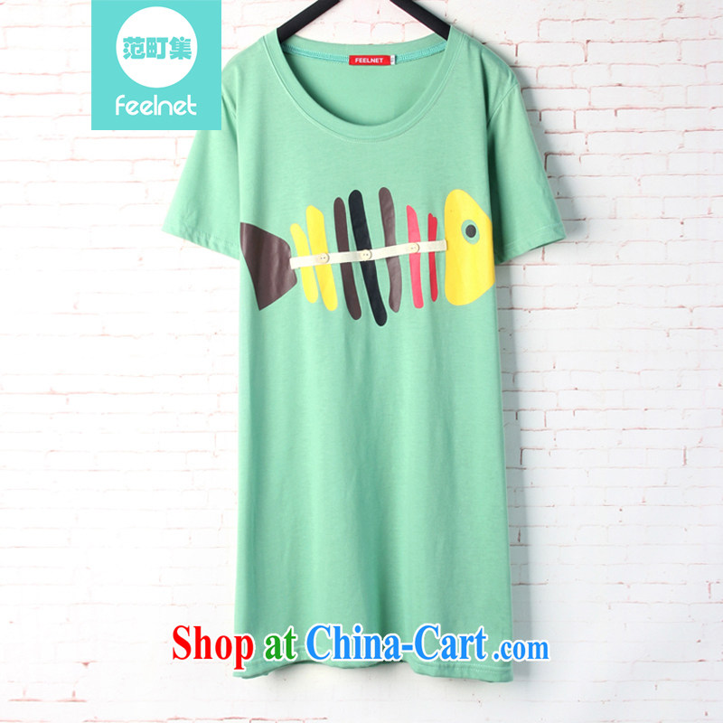 The feelnet Code women Korean mm thick summer long, loose T-shirt short-sleeved stamp the code T pension 1603 green 44 Codes - Recommendation 60 - 90 kg