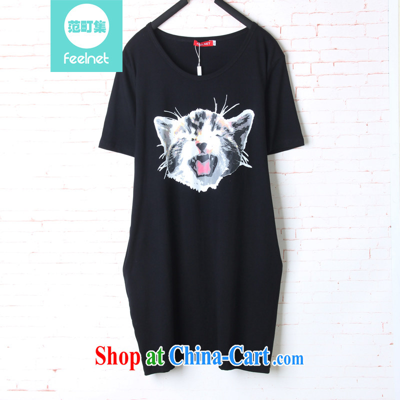 The feelnet code female 2015 summer new graphics thin short skirt stamp short sleeve XL T pension 1608 black 48 code - the recommended 90 - 150 kg