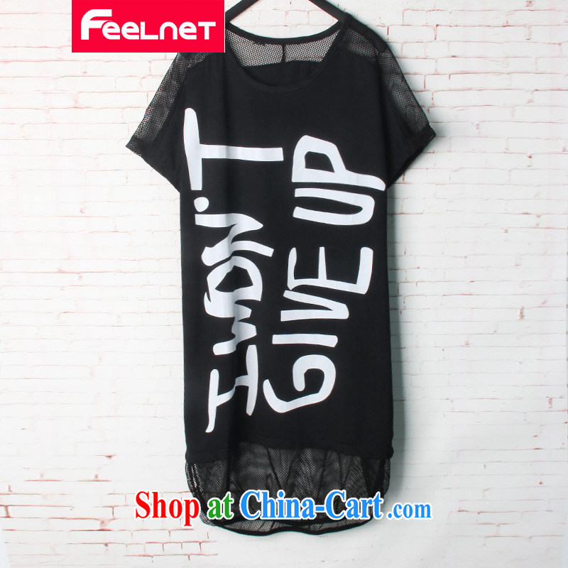 feelnet larger female 2015 summer new Korean version loose stamp bat sleeves short sleeves large code T pension 1621 black 48 code - Recommended 90 - 150 kg