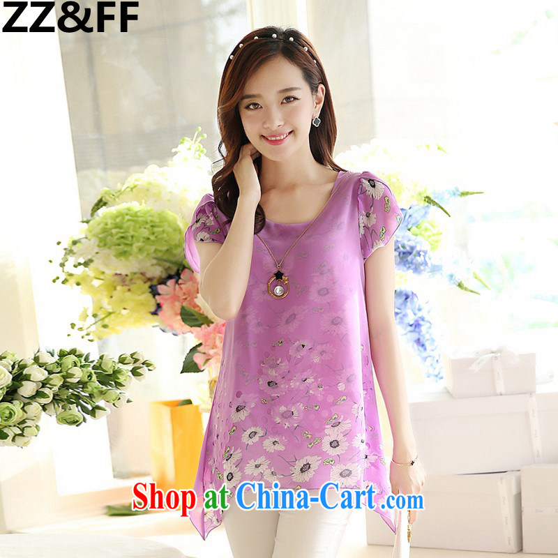 ZZ _FF summer 2015 new Korean loose the code for leisure stamp short-sleeved snow woven shirts girls summer 6112 purple XL