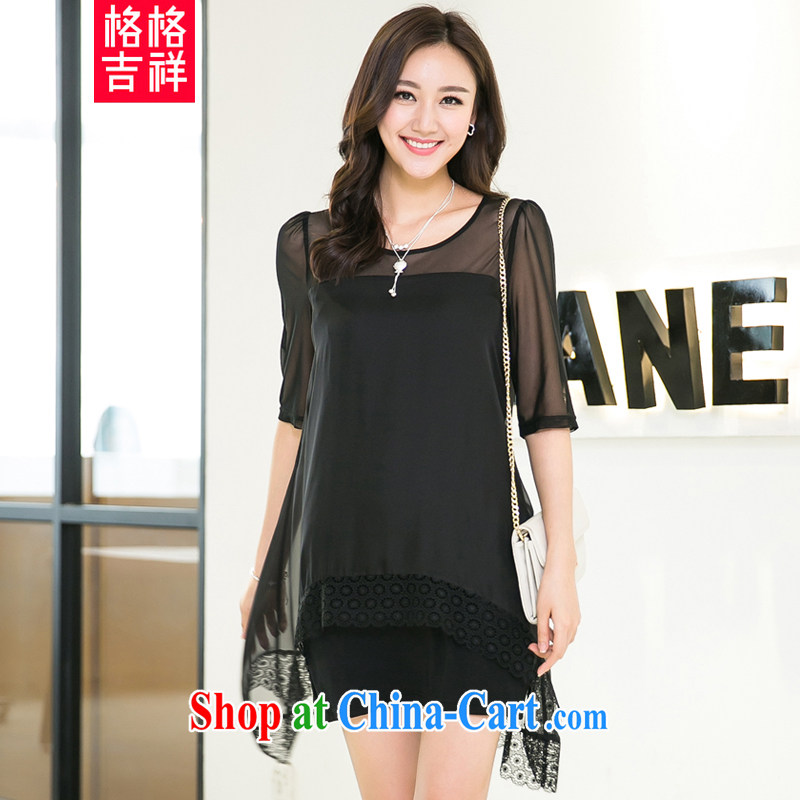 Huan Zhu Ge Ge Ge 2015 and indeed increase, female summer new thick mm loose video thin Openwork silk ballet yarn stitching short-sleeved dress 5206 black 3 XL