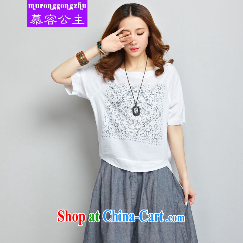 Princess 慕容 short-sleeved cotton the dresses women 2015 summer new, larger female loose cotton Ma T-shirt long skirt two piece retro art van white T-shirt + jeans color skirt XXL