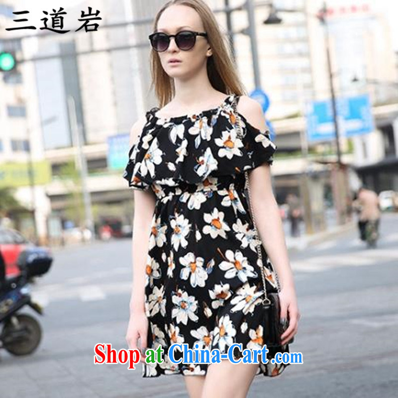 3, the Rock, summer 2015 in Europe, mm thick graphics thin 200 Jack stylish stamp your shoulders night dresses S Z 2826 6051 black 5 XXL