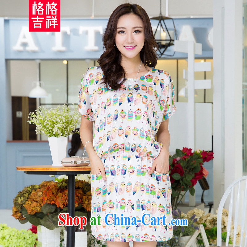 Huan Zhu Ge Ge Ge 2015 and indeed increase, female summer new Korean version mm thick-waist graphics thin card stamp short-sleeved dresses X 5290 white 3XL