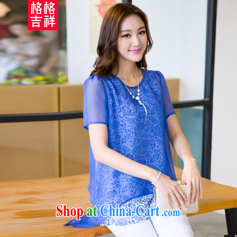 Huan Zhu Ge Ge Ge 2015 XL female summer new boxed thick mm loose video thin T shirts snow woven shirts both Kit female T-shirt 5289 blue 3 XL