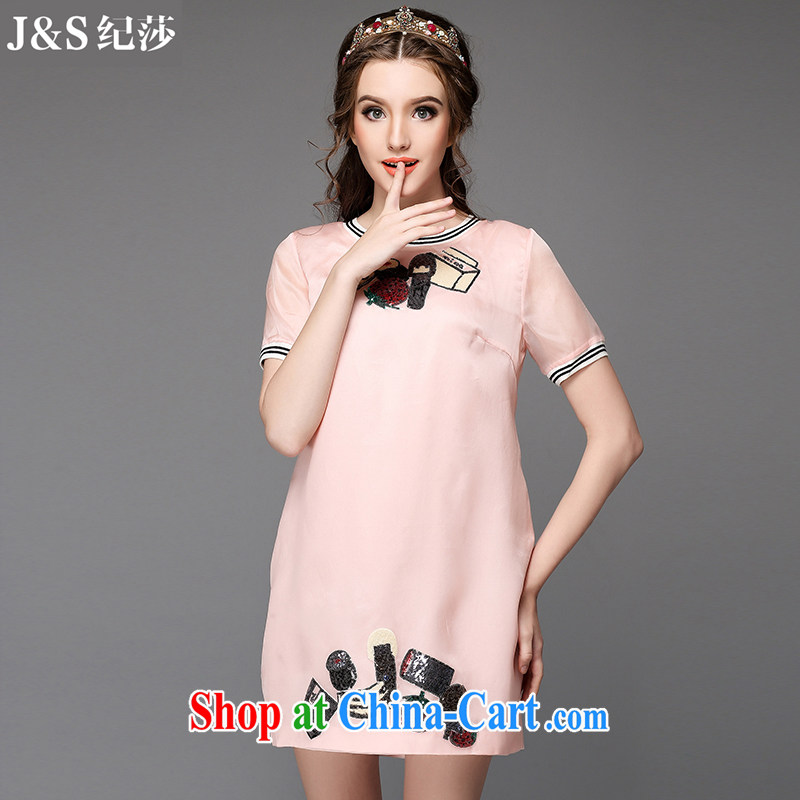 Discipline and Mona Lisa 2015 summer new in Europe and America, the female loose video thin dresses girls in long, thick mm solid skirt genuine A710 - pink 3XL