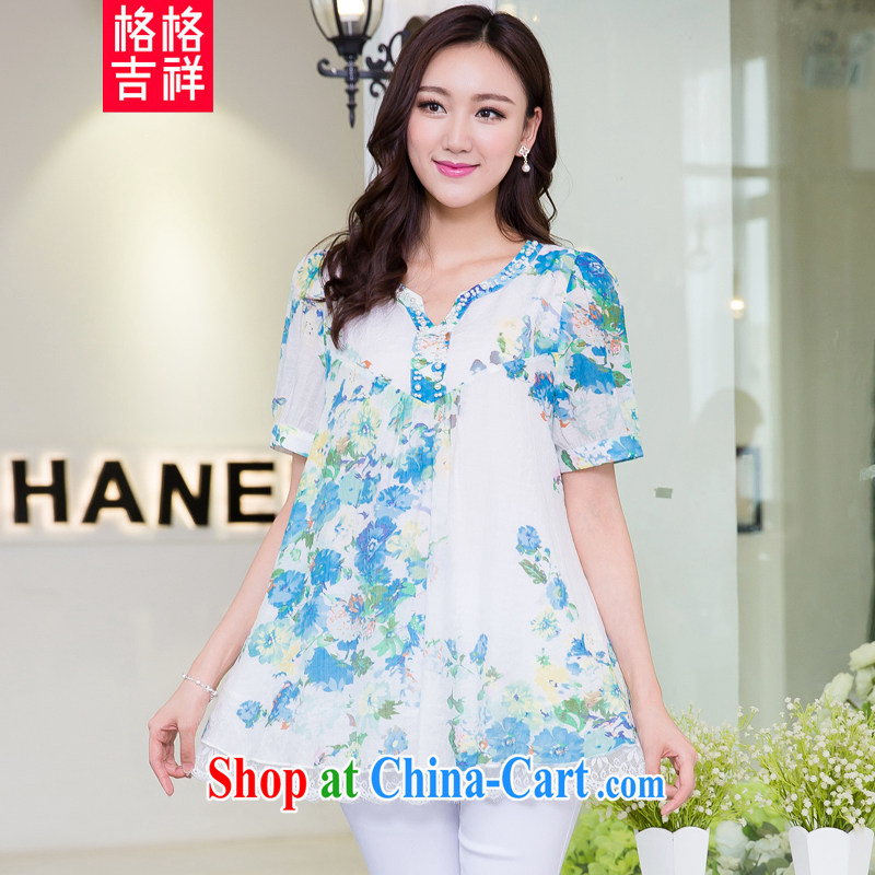 Huan Zhu Ge Ge Ge 2015 and indeed increase, female summer new thick mm video thin lace lace stylish stamp T shirt, long T-shirt girls 5261 blue 3 XL