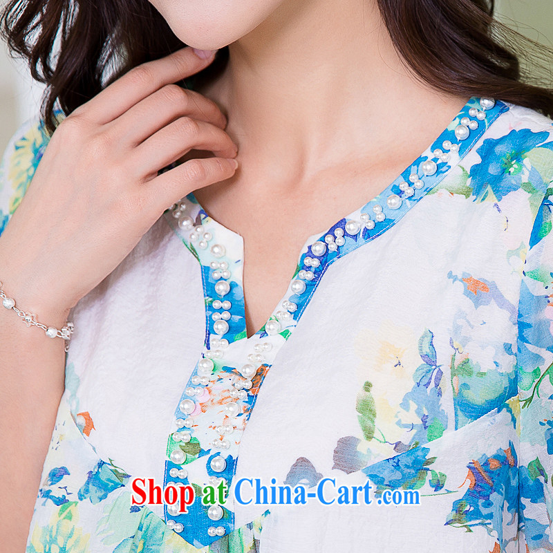 Huan Zhu Ge Ge Ge 2015 and indeed increase, female summer new thick mm video thin lace lace stylish stamp T shirt, long T-shirt girls 5261 blue 3 XL, giggling auspicious, shopping on the Internet