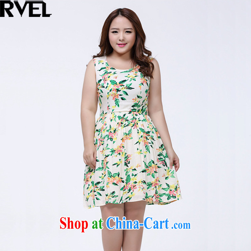 Rvel 2015 summer new Korean version thick MM XL video thin female sleeveless vest dresses female P 106 photo color 4 XL