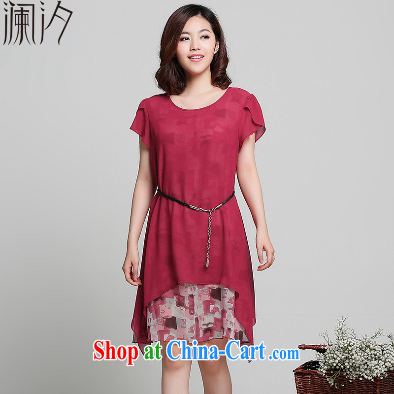 world leaves the fat increase code 2015 mm thick summer new stamp duty short-sleeved snow solid woven dresses maroon 4 XL