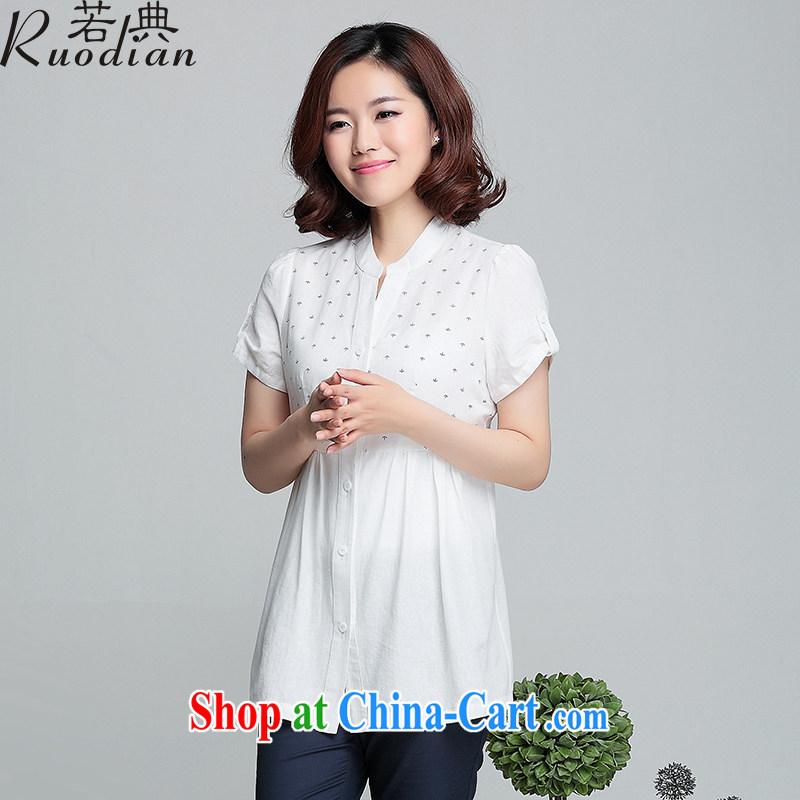 If code 2015 summer new cotton Ma female, short-sleeved T-shirt large, loose dolls T-shirt shirt T-shirt white XL