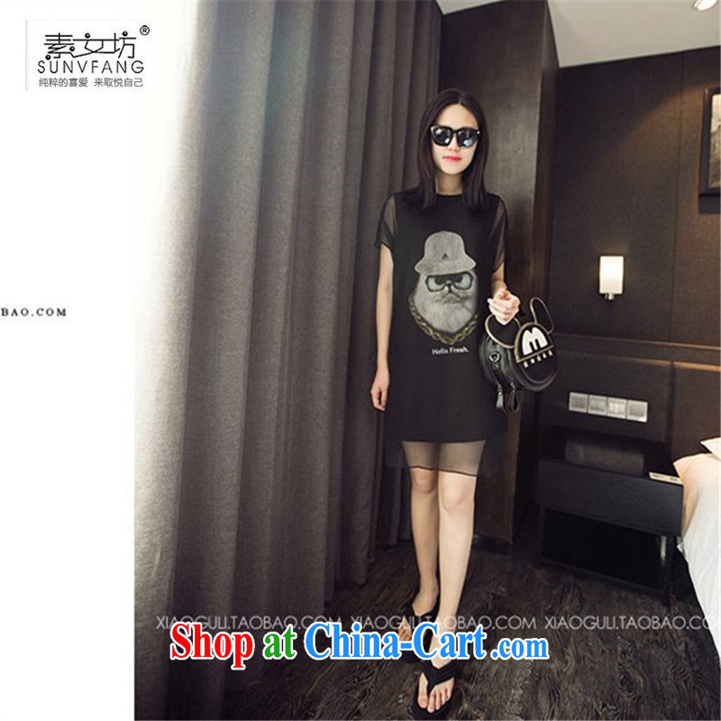 Women of 2015 workshop on the code female 200 Jack thick MM owl yarn stitching graphics thin false Two-piece short-sleeved dresses 235 black 3 XL recommendations 145 - 165 jack
