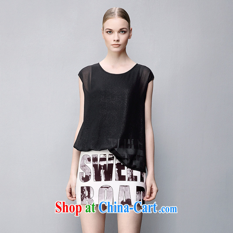 The wheat high-end large, female 2015 summer new thick mm leave two sleeveless dresses 852104071 gray 4 XL