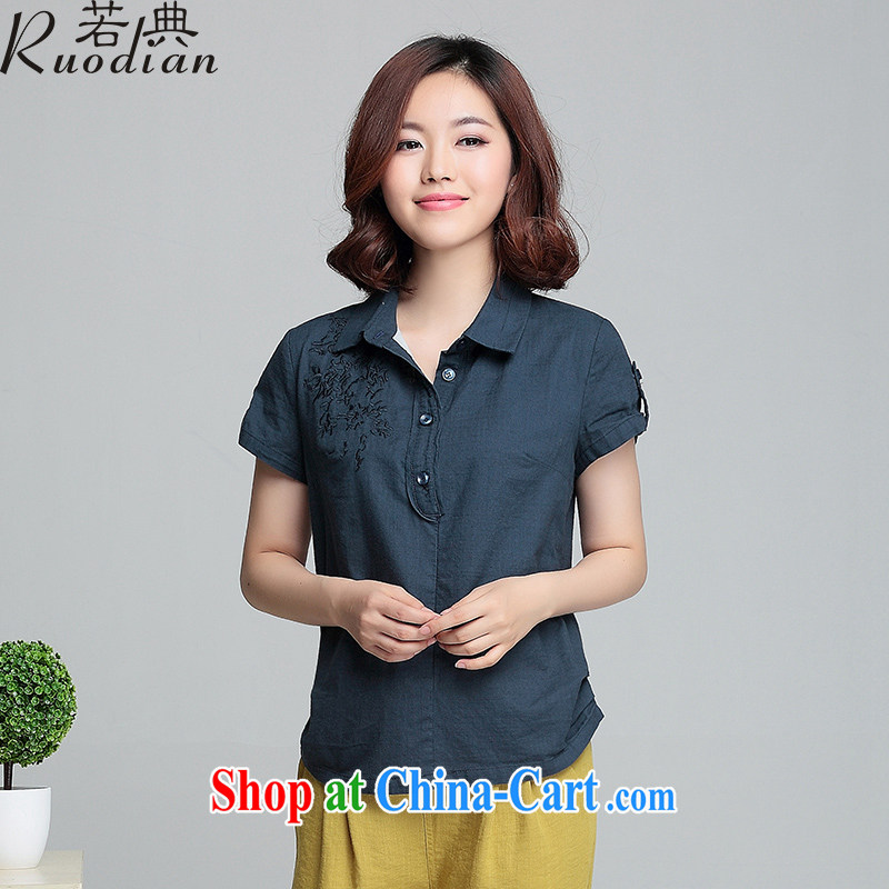 If code 2015 summer new, loose the code short-sleeved cotton the Korean fashion linen shirts blouses Tibetan cyan 3 XL